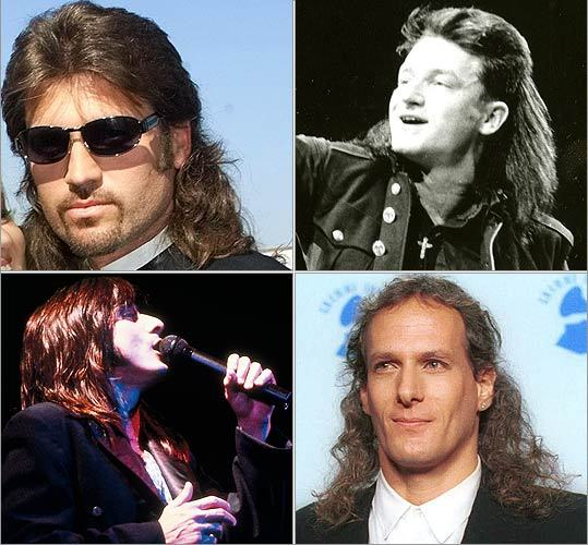 '80s musicians Long before Billy Ray Cyrus was Hannah Montana's father, the 'Achy Breaky Heart' singer made the mullet famous. In the 1980s and early 1990s, the hairstyle hit its stride. Musicians from every corner, including (clockwise from upper left) Cyrus, Bono of U2, Michael Bolton, and Steve Perry of Journey, were wearing their hair short in the front and long in the back.