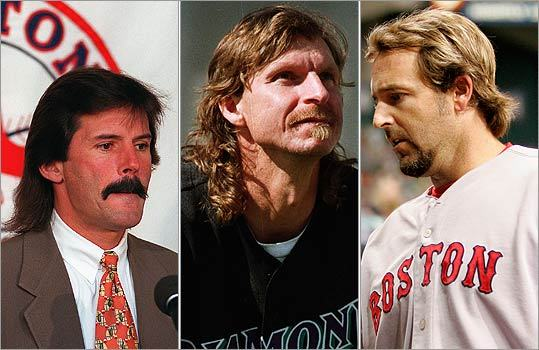 Baseball players Another ballplayer-turned-analyst has brought his signature mullet with him to the booth, former Red Sox pitcher Dennis Eckersley (left). But the diamond has produced a number of similar looks, from fireballer Randy Johnson (center) to former Red Sox first baseman Kevin Millar.