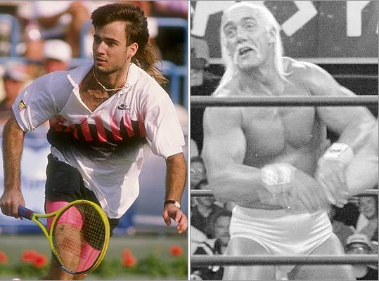 Other sports Still, the mullet's influence extends far beyond the rink or the ballpark. Andre Agassi (left) popularized the hairstyle on the tennis court, while Hulk Hogan's golden locks gave the mullet some muscle. However, in Agassi's book, 'Open,' he confessed that the hair was actually a wig intended to mask his receding hairline. He even blamed the distraction the hairpiece created for his loss at his first Grand Slam.