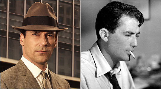 DON DRAPER Jon Hamm -- Gregory Peck Don's the hardest to cast, because Hamm so completely owns the role. William Holden could play a blank slate, then add on a cynical edge — perfect for Don. And Laurence Harvey might have captured Don's cold heart. But Peck (right), if he could hide his heart? I gotta go with him, not least of all because comic Jimmy Barrett once snidely called Don 'The Man in the Gray Flannel Suit.'