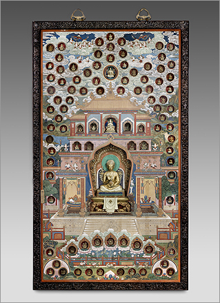 A hanging shrine painted on silk contains many intricate niches of holy and supernatural figures. Qianlong, depicted in gold, is in the center.