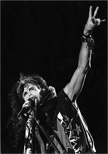 Steven Tyler of Aerosmith performed at the Walden Woods Benefit Concert at Foxboro Stadium on September 6, 1983.