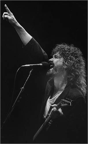6. Boston Led by the late Brad Delp (pictured at the Centrum in Worcester on Aug. 13, 1987), the hometown boys racked up hits like 'More Than a Feeling,' which appealed to at least one reader in a big way. 'I hope my saying that I simply love 'More Than a Feeling' is more than enough to vote for Boston,' writes Slavica. 'This song is colored by magic.'