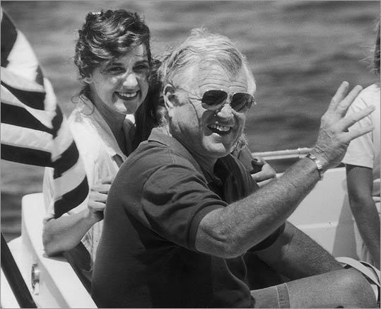 The newlyweds sailing off Cape Cod in 1992.