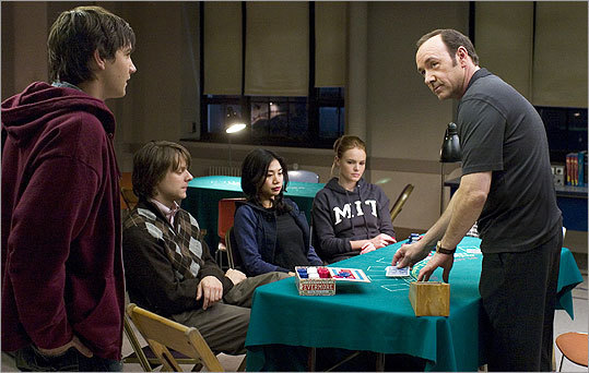 13. '21' (2008) '21' is a 'morality tale about the rise and fall of a young Boston innocent named Ben Campbell (Jim Sturgess, left), an MIT undergrad who's desperate to come up with the tuition for Harvard Med ... Ben, a born numbers adept, is invited to join a secret campus blackjack club led by a Mephistophelean professor played by Kevin Spacey (right),' writes the Globe's Ty Burr .