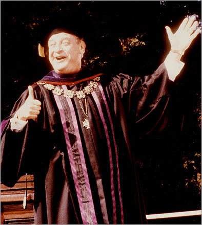 5. ' Back to School ' (1986) Rodney Dangerfield, a veteran of the slapstick genre, portrays a millionaire who convinces his son to attend college by re-enrolling himself. Of course, while there, he throws a few parties.