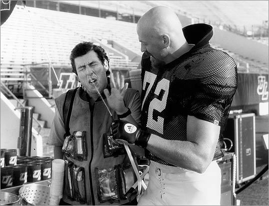 14. ' The Waterboy ' (1998) Adam Sandler (left) plays a middle-aged college football waterboy, who taps into his rage and discovers a secret talent for tackling. Soon enough, the stuttering Cajun nabs a scholarship to play f-f-f-football, and floors a condescending professor.