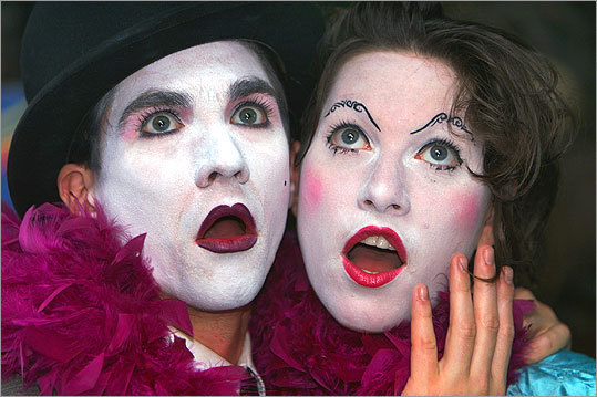 Amanda Palmer and bandmate Brian Viglione — dressed here as mimes for a 2003 photo shoot — make up local punk cabaret act the Dresden Dolls.