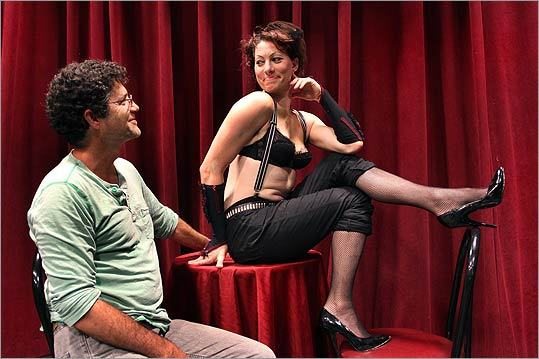 Lexington High School drama teacher Steven Bogart (left) and Amanda Palmer at a rehearsal for ART's 'Cabaret.'