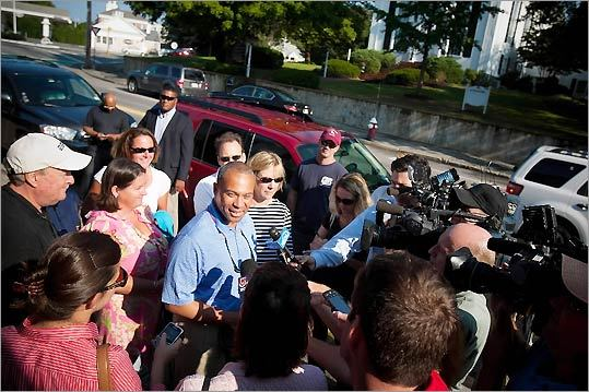 Governor Deval Patrick held a press conference outside Sandi's Diner on Main Street in Chatham to thank the public for taking precautions and to express relief that the storm was not worse.