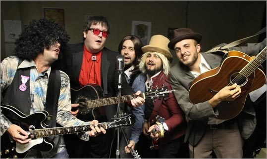 From left: Jim Gerdeman of Mansfield, Brendan Boogie of Boston, Jason Dunn of Allston, Emeen Zarookian of Belmont, and Naseem Khuri of Westwood participated in Cover-Up Boston's Wilburys Weekend.