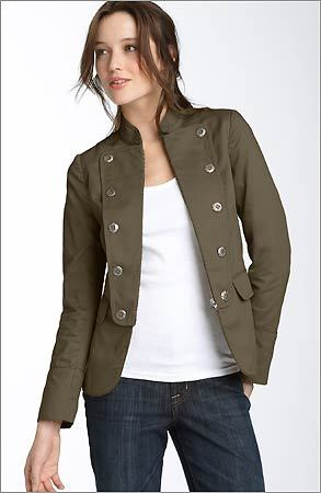 THE MILITARY-INSPIRED JACKET If you've been in the stores lately, you've seen them. They can be simple lightweight olive numbers or ultra-chic, much pricier versions (a $3,395 Jil Sander tweed jacket at Barneys, for example). Patch pockets and trim cuts lend a masculine flair, but the jackets are surprisingly adaptable. Try one with a brightly colored shirtdress or tunic underneath.