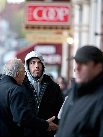 Affleck filming in front of the Harvard Coop alcove on Massachusetts Avenue in Harvard Square.