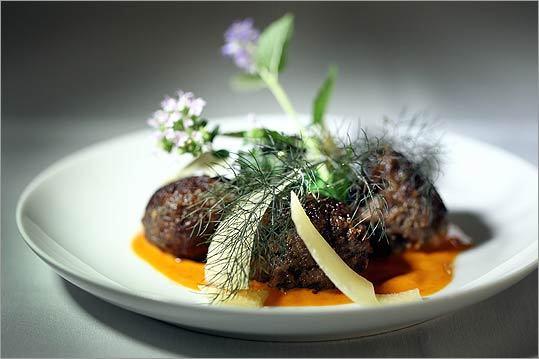 Juicy wild boar meatballs from Erbaluce's enoteca menu.