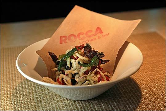 The 'fries with eyes,' tiny fried fish with crisp basil and chilies at Rocca.