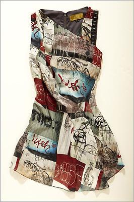 "Nicole Miller ""Graffiti Print GGT"" silk top"