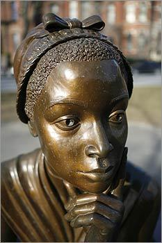 Phillis Wheatley: A Senegalese slave brought to Boston who, at age 14, in 1767 became the first African-American in North America to publish poetry. Pictured: A statue of Wheatley at The Women's Memorial on Commonwealth Avenue.