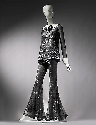 Pictured: Woman's ensemble designed by Arnold Scaasi, worn by Barbara Streisand at the 1969 Oscars.