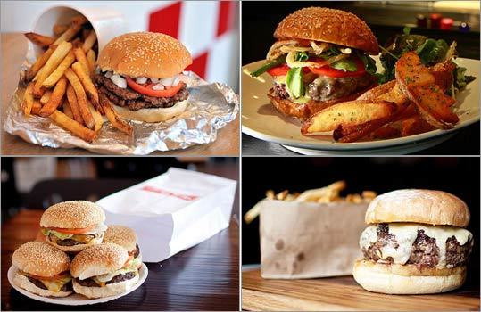 Looking for a mouth-watering burger around Boston? You have plenty of options. Some restaurants, including Craigie on Main (top right) and Back Bay Social Club (bottom right) are turning this favorite into a luxury item, charging around $20 for prime cuts and fancy fixings. Others, like Five Guys (top left) and Tasty Burger (bottom left), are sticking to the traditional method and pricing. Take a look at 10 savory burgers for all budgets -- and tell us your favorite !