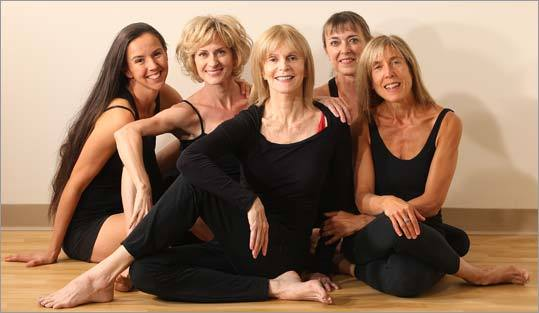 Justine Wiltshire Cohen, Natasha Rizopoulos, Patricia Walden, Barbara Benagh, and Peentz Dubble of Down Under Yoga.