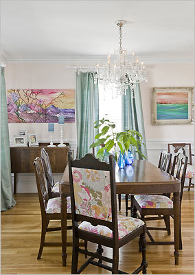 The dining room is furnished with curbside finds