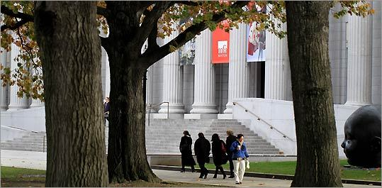 The MFA's Fenway entrance was newly lighted and landscaped before reopening in 2008.