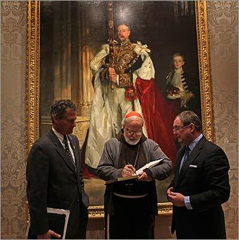 Senator Scott Brown waited to sign the MFA's guest book after Cardinal Sean O'Malley. MFA Director Malcolm Rogers held the book in front of the painting 'Charles Stewart, 6th Marquess of Londonderry' by John Singer Sargent.