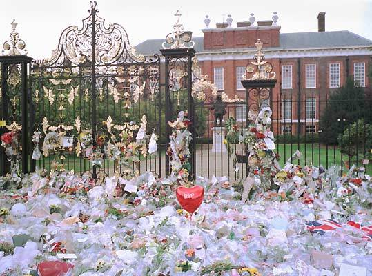 A sea of flowers in front of Kensington Palace, near Princess Diana's home.