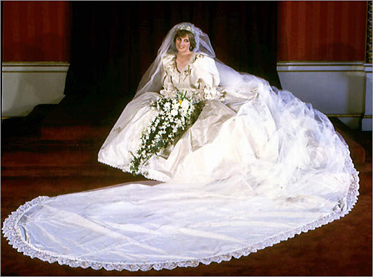 A portrait of Princess Diana in her extravagant wedding gown.