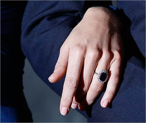 Here is a close-up of Kate Middleton's engagement ring.