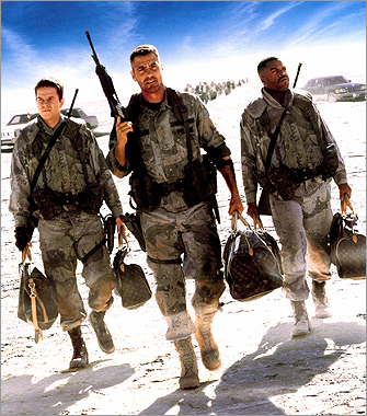 Wahlberg, George Clooney, and Ice Cube in David O. Russell's 1999 film 'Three Kings,' set during the first Gulf war.