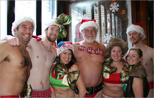 From left: Tom Novak, of Milwaukee, John Turner, of Cambridge, Ali Ely, of Philadelphia, Mark Lukas (or Santa, as everyone kept calling him), of Maine, Meghan Quinn of Maine, Kamala Loscocco, of Somerville, and Steve Siwy of Boston.