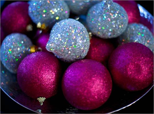A bowl of sparkly ornaments.