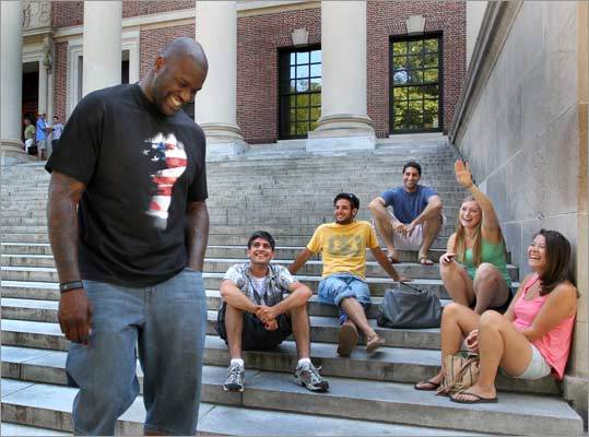 O'Neal walked down the stairs of the Widener Library at Harvard University past a group of students who greeted him.