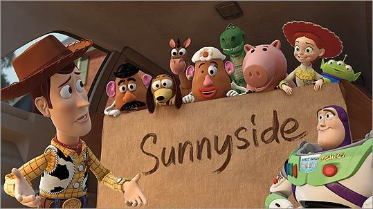 'Toy Story 3' The first quarter of installment three is rather humdrum. Then Andy's toys are accidentally discarded, provoking another existential trek. But who could have known that Pixar's secretly spiritual comedy franchise would have the nerve to give first Barbie a brain and then explore the dark side of the soul? There's a crypto-totalitarian teddy bear and a climax that perches its stars at the brink of perdition. And for a few emotionally exhausting minutes we see computer-animated, flame-engulfed faces express a terror, then a stoic, heroic acceptance that eludes many human Oscar winners. — W.M.