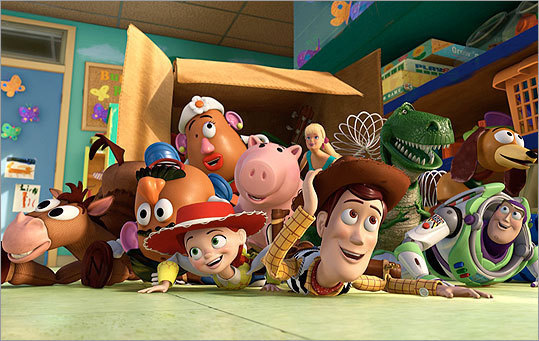 "'Toy Story 3' ""TS3'' is, of course, a rounding off of an intensely-loved generational saga that began in 1995, when its audience was still in pull-ups, and that ends, 15 years later, as they're navigating college and preparing for the wider world. In it, Woody (Tom Hanks), Buzz (Tim Allen), and the gang contemplate nothing less than the Void itself. Does a toy cease to exist when it's destroyed — or when it's simply no longer played with? What's the best way to say farewell? There were laughs and plenty of them, but animated family comedies don't come more emotionally resonant. — T.B."