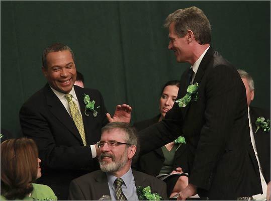 Governor Deval Patrick (left) and Senator Scott Brown