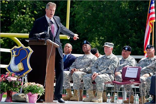 Senator Scott Brown spoke to the crowd and troops during the send-off ceremony at Foley Stadium in Worcester.
