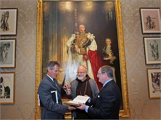 : Senator Scott Brown, Cardinal Sean O'Malley, and Museum of Fine Arts Director Malcolm Rogers at the dedication of the new Art of the Americas Wing at the MFA.