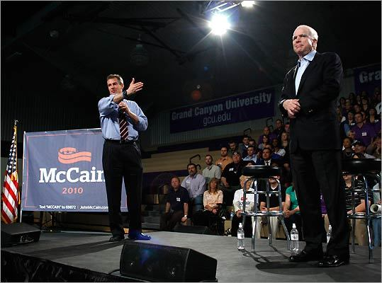 Senator Scott Brown (left) announced his endorsement of fellow Republican Senator John McCain (right)