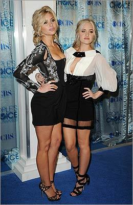 'Hellcats' actress Alyson Michalka (left) and her sister and fellow actress Amanda Michalka posed together before the show. 'Hellcats' was nominated for favorite new TV drama. Alyson Michalka also starred in the film 'Easy A,' which was nominated for favorite comedy movie.
