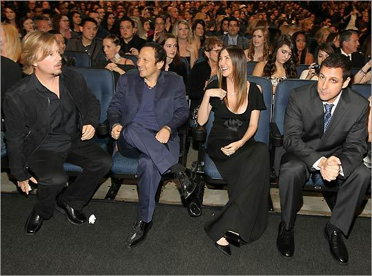 David Spade, Rob Schneider, Adam Sandler's wife, Jackie Sandler, and Adam Sandler himself.