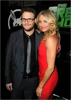 Jan. 10 / Hollywood The action-comedy 'The Green Hornet' held a premiere at Grauman's Chinese Theatre. Executive producer/writer/actor Seth Rogen, who stars as Britt Reid (also known as The Green Hornet), and Cameron Diaz, who plays Lenore Case, snapped a shot together.