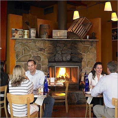 As you would expect from a restaurant with this name, the fireplace at The Fireplace in Brookline doesn't disappoint. Set into a grand stone hearth and fronted by five dining tables, it's kept roaring all day. Call ahead for a reservation (dinner for two costs about $60). 1634 Beacon Street, Brookline, 617-975-1900, http://www.fireplacerest.com