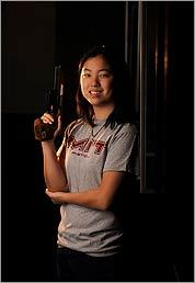 AIMING HIGH Before she arrived at MIT, electrical engineering major Alexandra Jiang had never held a gun. Now she's manager of the university's pistol club, one of the most competitive teams in the country.