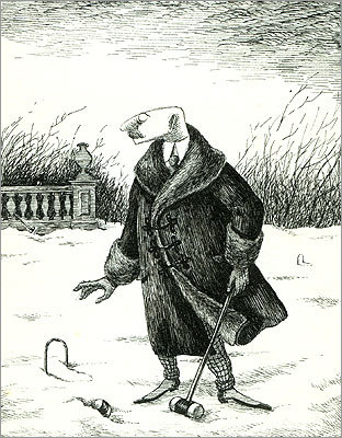 Author Edward Gorey's celebrated work is the subject of a new exhibition, 'Elegant Enigmas: The Art of Edward Gorey' at the Boston Athenaeum. Pictured: an illustration from 'The Unstrung Harp; or, Mr. Earbrass Writes a Novel.'
