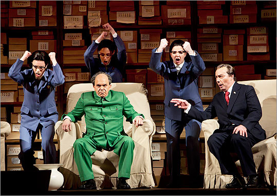Robert Brubaker (seated left) as Mao Tse-tung and James Maddalena (right) as Richard Nixon in ''Nixon in China.''