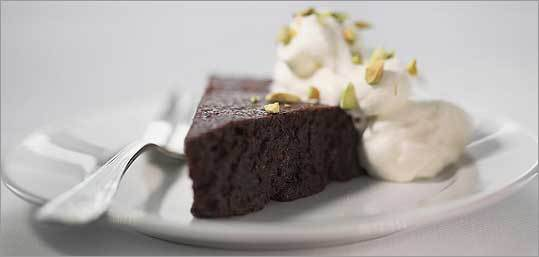 flourless chocolate-pistachio cake