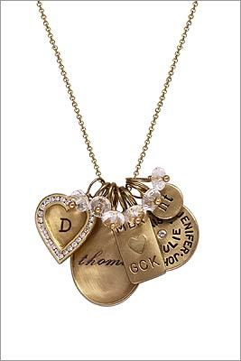 "Heather Moore ""Cherish Who You Are"" personalized necklace, choose from assorted engraved charms and white quartz beads, $8,985 as shown with 14-karat gold chain (silver chain and single charm combinations start at $140), at Quadrum, The Mall at Chestnut Hill, 617-965-5555, http://www.quadrumgallery.com"