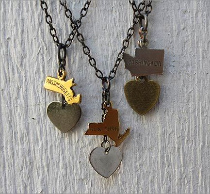 "Keep it sweet, but not saccharine, with stylish Valentine's gifts. Magpie ""Home Is Where the Heart Is"" necklaces with a brass state charm, silver-plated heart, and gunmetal chain, $36 at Magpie, 416 Highland Avenue, Somerville, 617-623-3330, http://www.magpie-store.com"